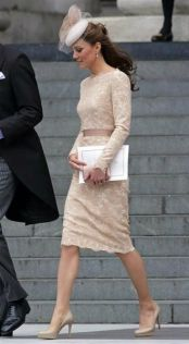 Kate Middleton - Beige Lace Dress