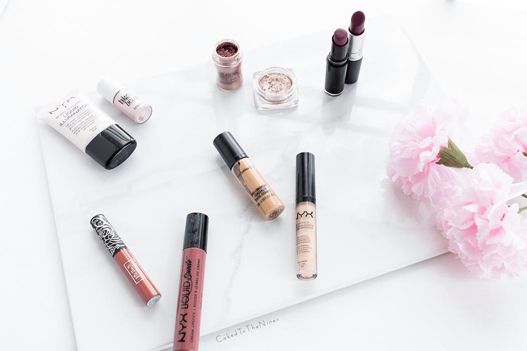 Pinterest makeup dupes tested featuring MAC Rebel dupe, MAC Tan pigment Dupe, MAC Pro Longwear Concealer Dupe, Benefit High Beam dupe, Kat von D Lolita II dupe