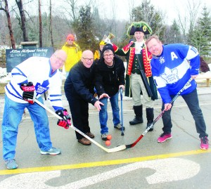Former NHL linesman Ray Scapinello and Alton Mill co-proprietor Jeremy Grant were accompanied by Caledon Town Crier Andrew Welch as they performed the ceremonial opening faceoff between Mayor Allan Thompson of the Caledon Notables and former Toronto Maple Leaf star Gary Leeman, representing the Caledon Not-Ables. The Not-Ables won 15-14.