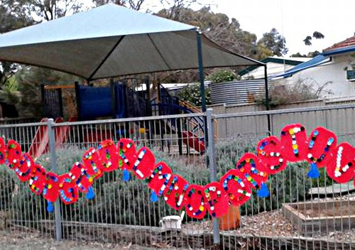 Alphabet Caterpillar made by Eudunda Kindy for SALA Eudunda 2016 - 'Fantastic Plastic'