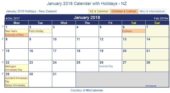 2018 Calendar New Zealand – Merry Christmas And Happy New Year 2018