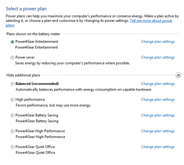 power options, change plan setting