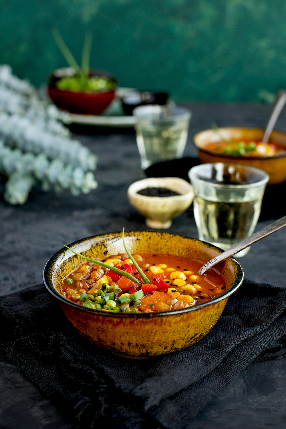 Sesame Lentil Soup With Pureed Roasted Red Bell Peppers