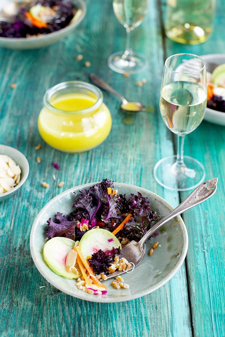 Purple Kale Farro Salad