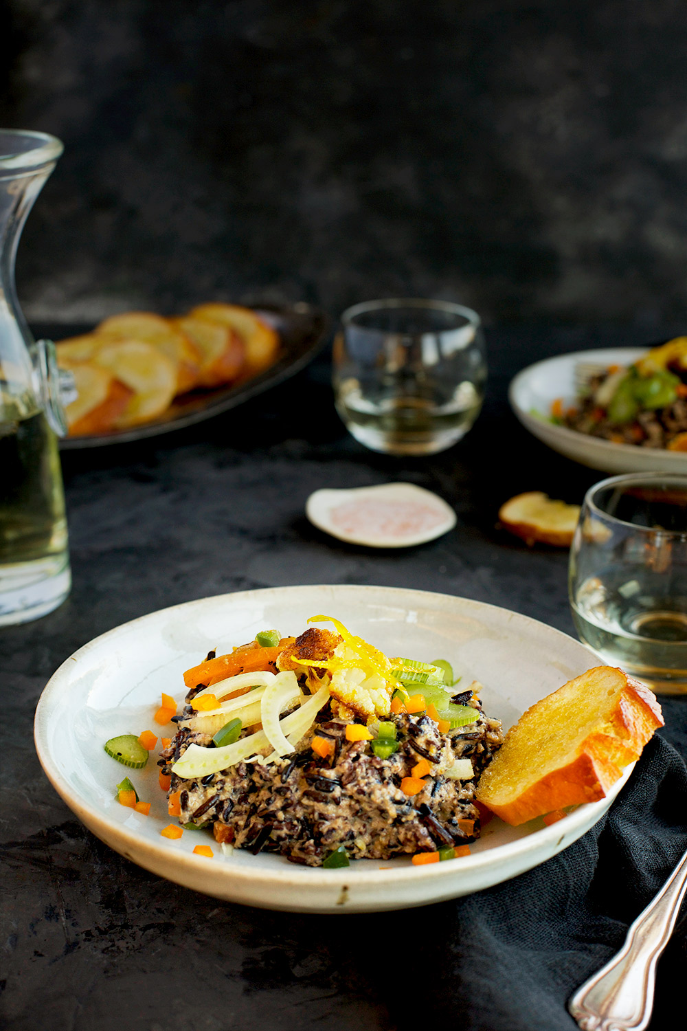 Vegetable Wild Rice with Spicy Roasted Cauliflower Citrus Pesto