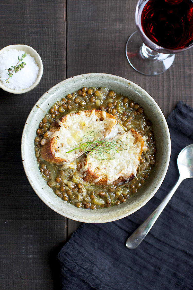 French Onion Green Lentil Soup