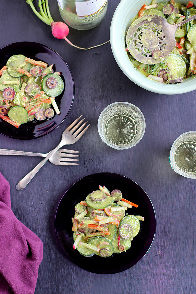 Cucumber-Salad-with-a-Chive-Cashew-Pesto-Viniagrette