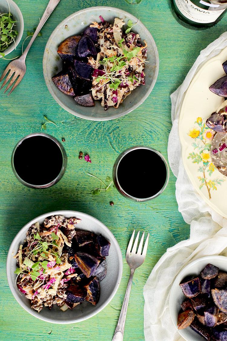 Black-Lentil-Cilantro-Pesto-Vinaigrette-Salad