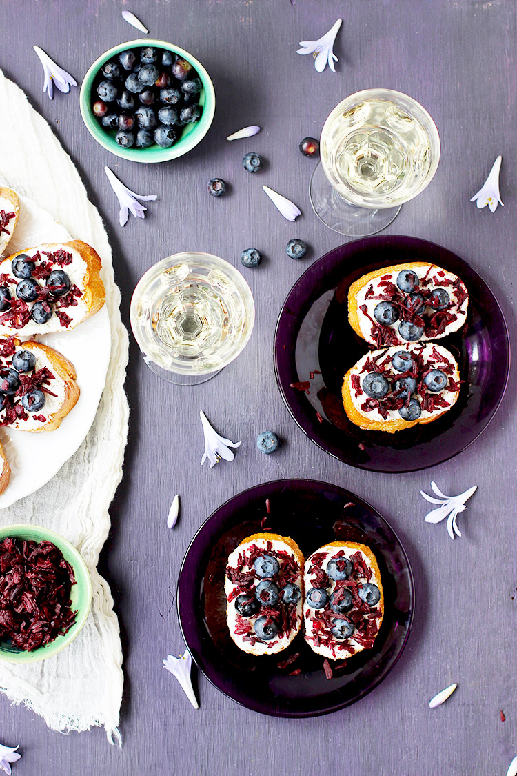 Blueberry-Vinegar-Hibiscus-Crostini