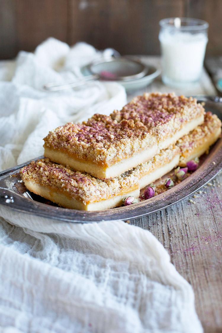Persimmon Rose Shortbread Crumb Bars