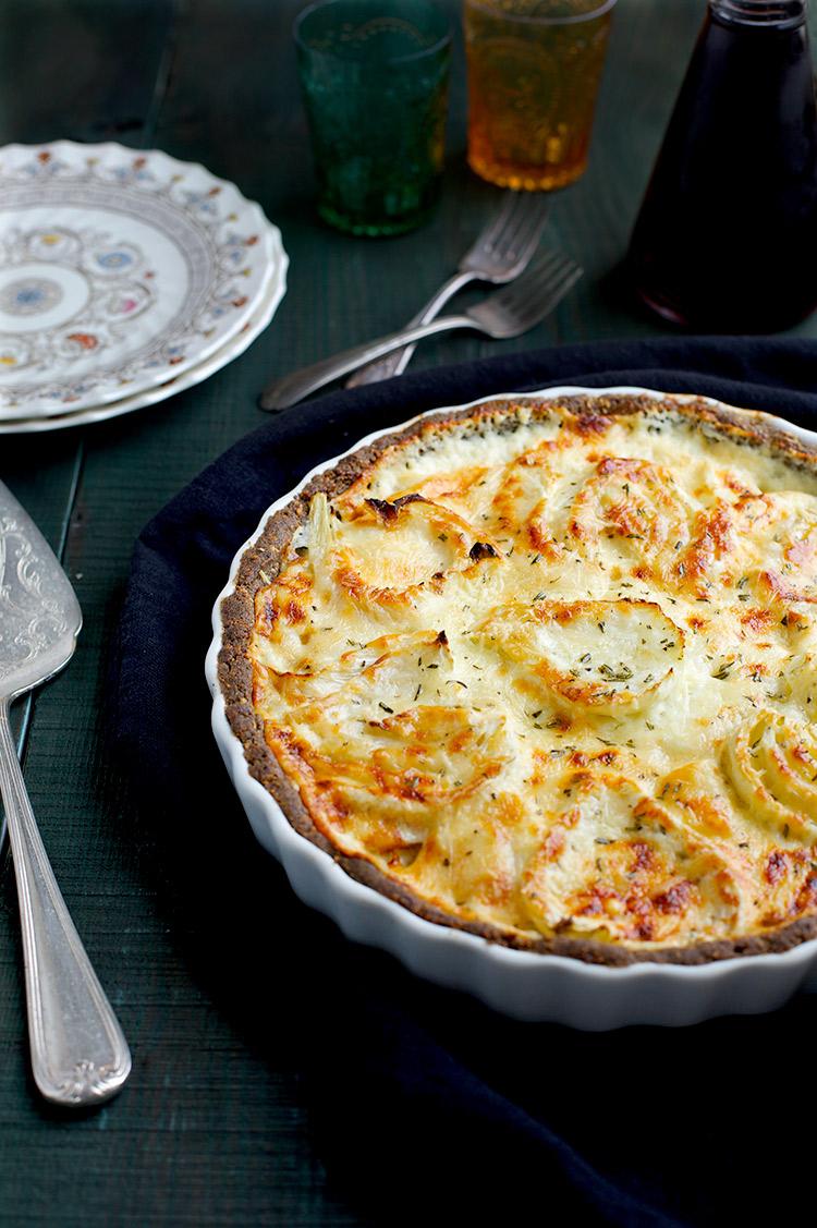 Roasted Fennel Potato Gruyere Tart