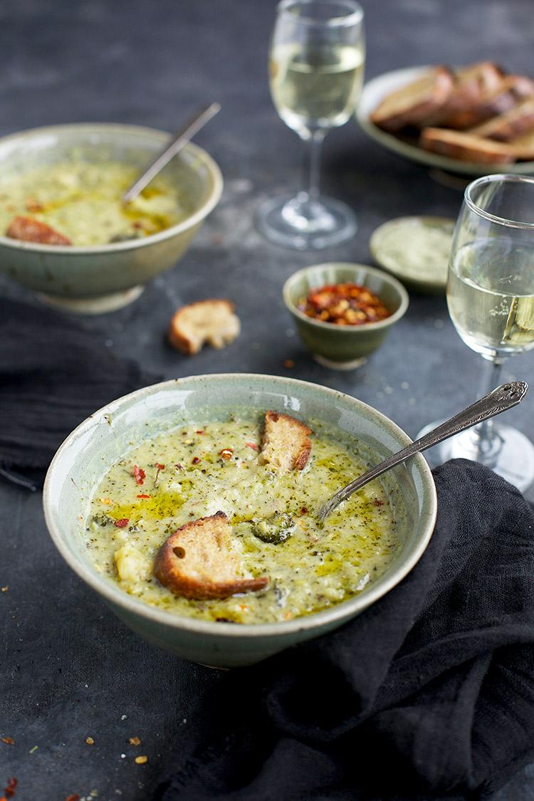 Charred Broccoli Cheddar Potato Soup