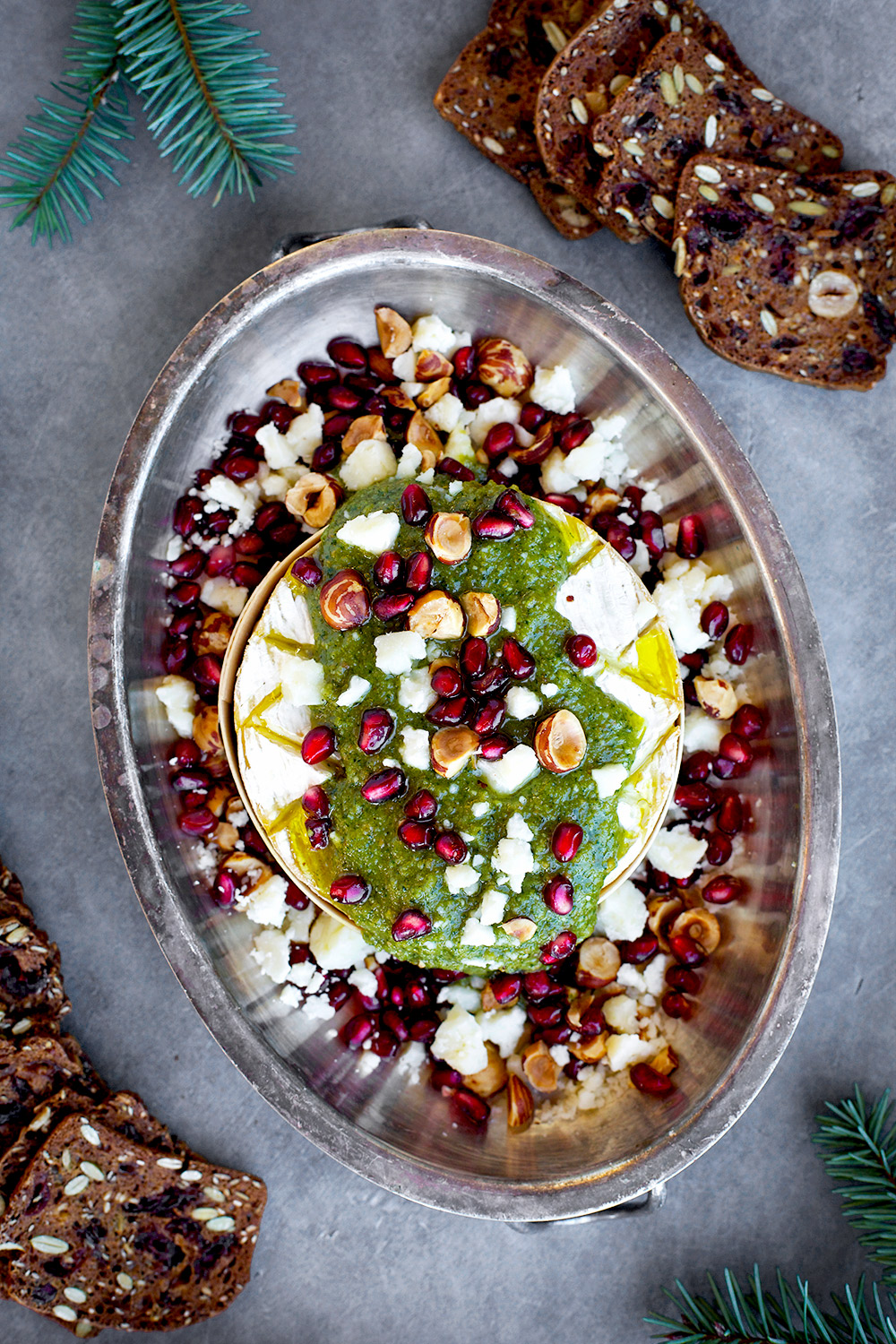 Baked Camembert with Gorgonzola Hazelnut Pesto