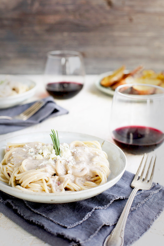 Rosemary Gorgonzola Pesto Cream Sauce over Spaghetti