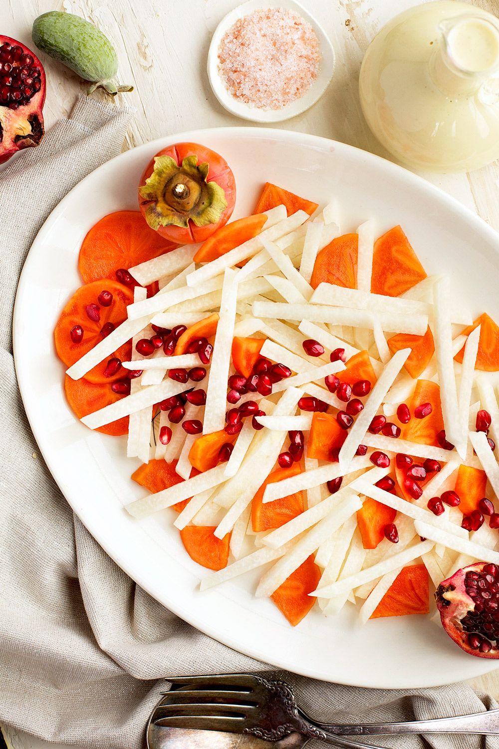 Jicama Persimmon Pomegranate Salad with Guava Chevre Vinaigrette