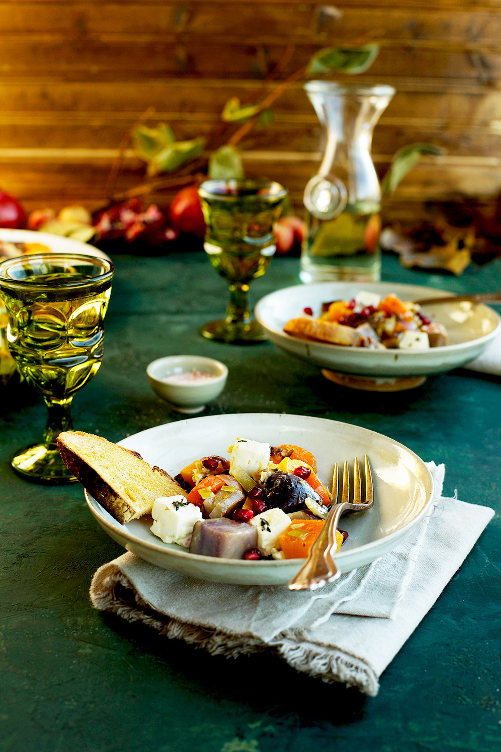 Wine Roasted Vegetables with Feta is a easy gluten-free side dish that is perfect for any time of the year!