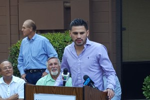 Boxing Champion Jose Ramirez speaks at the Nisei Farmers League