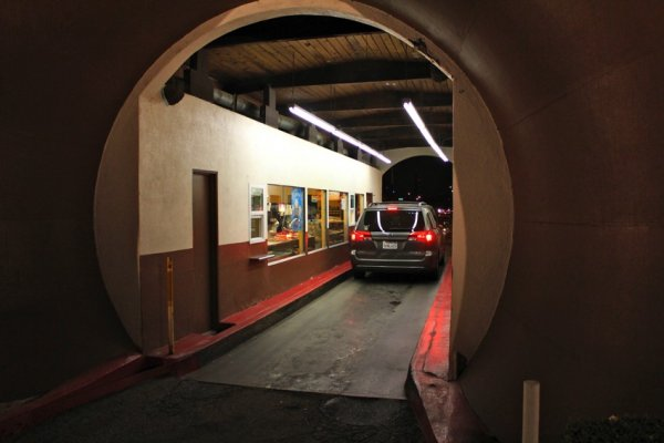 car in donut hole drive thru