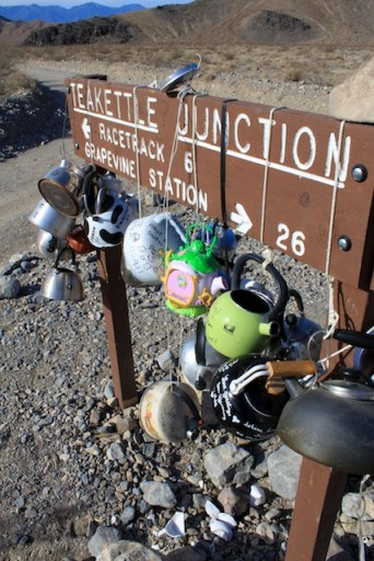 Teakettle Junction sign up close