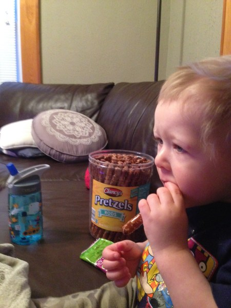 "while Sam and mom ate our ever-increasing weight in pretzels while watching ""Go!"" aka name that movie."