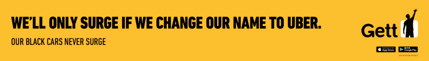 Gett billboard campaign for Uber's surge pricing