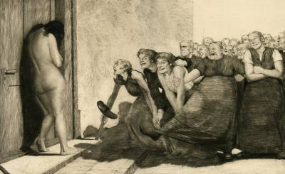 woman being taunted drawing