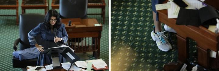 森留下的照片:. 阿尔瓦拉多在她的办公桌前讲话. 右图:Alvarado的运动鞋在她的桌子下面