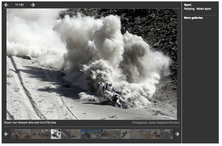 Anyone found a good summary of Dakar motorcycle pics out there that we can also link too?