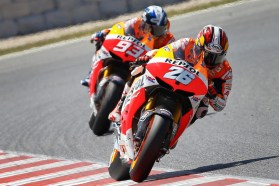 Marc Marquez worked hard to find a way past Pedrosa, but was unable to. His antics almost caused him to crash again, to nobody's surprise. Photo: MotoGP