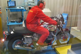 A Guzzi V7 gets a dyno run at the factory.