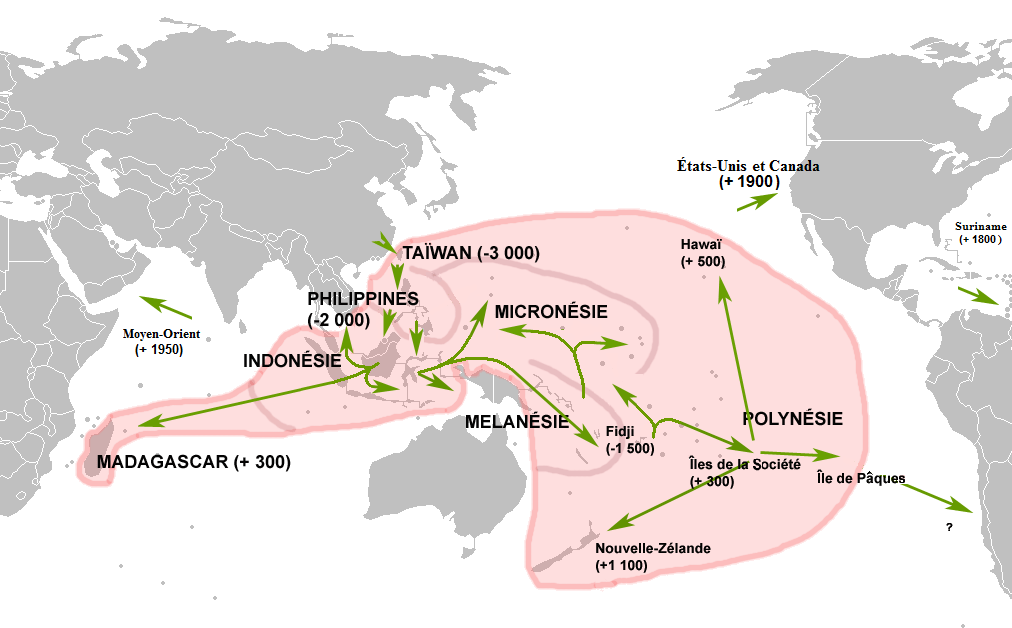 Austronesian migration started from Taiwan ~3000 BCE, spread to the Philippines, Indonesia, Micronesia, and Melanesia ~2000 BCE, Fiji ~1500 BCE, Hawaii ~500 CE, and Madagascar ~300 CE.