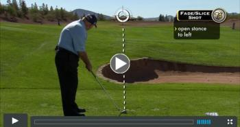 "Harmon uses a distant landmark to demonstrate effective alignment methods in ""Butch Harmon: About Golf."""