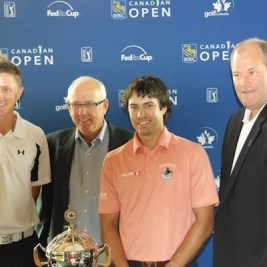 Mackenzie Hughes, tournament chair Paul Courneya, Adam Hadwin and Tournament director Bill Paul at the RBC Canadian Open press conference earlier this week.