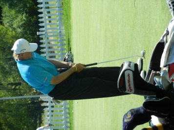 Ernie Els on the putting green yesterday before flying back to Toronto