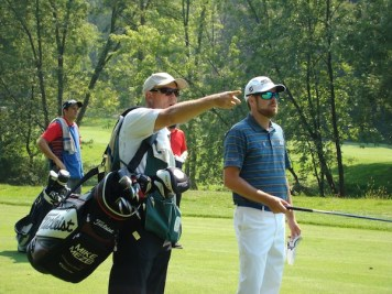 """Hit it right there."" Standing with Mike Mezei during the third round of the Canadian Tour's Tour Championship."