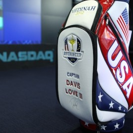 US Ryder Cup Captain Davis Love III Rings The NASDAQ Closing Bell