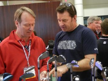 Nick Faldo hangs out at the Edel booth
