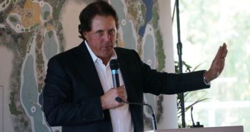 I said hold it, that green will be fast enough: Phil Mickelson talks in Calgary yesterday.