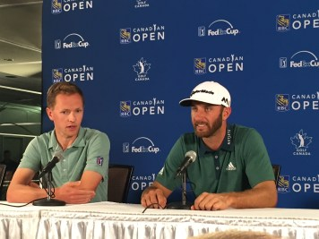 Big Hitter, small talker: Dustin Johnson gave some short answers to big questions during his interview at the RBC Canadian Open on Wednesday.