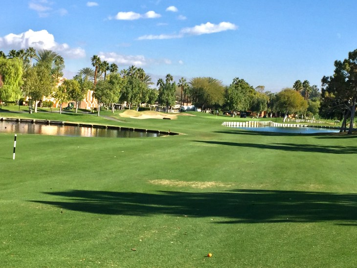 A beautiful Par 4 guarded by water on both sides