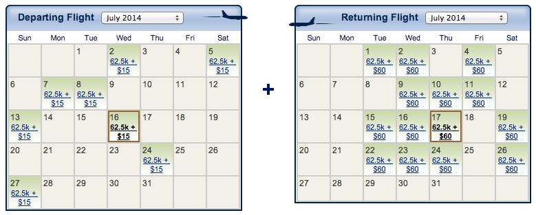 """Green"" dates on the calendar indicate Delta BusinessElite award availability from New York-JFK to Reykjavik"