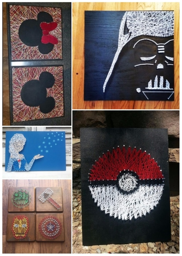 Ideas para decorar cuadros con clavos e hilos tensados - Decorar tabla madera ...