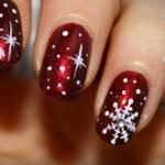 diseños de uñas con copos de nieve
