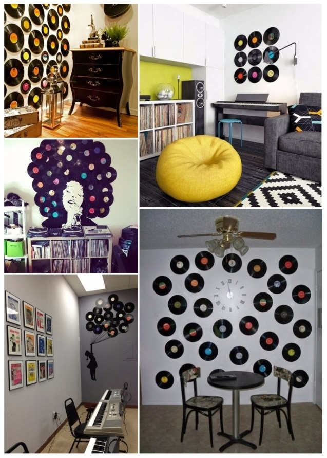 Ideas para decorar con discos de vinilo for Decoracion paredes en vinilo