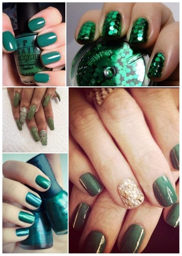 uñas verdes con flores