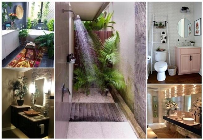 como decorar un baño con plantas naturales