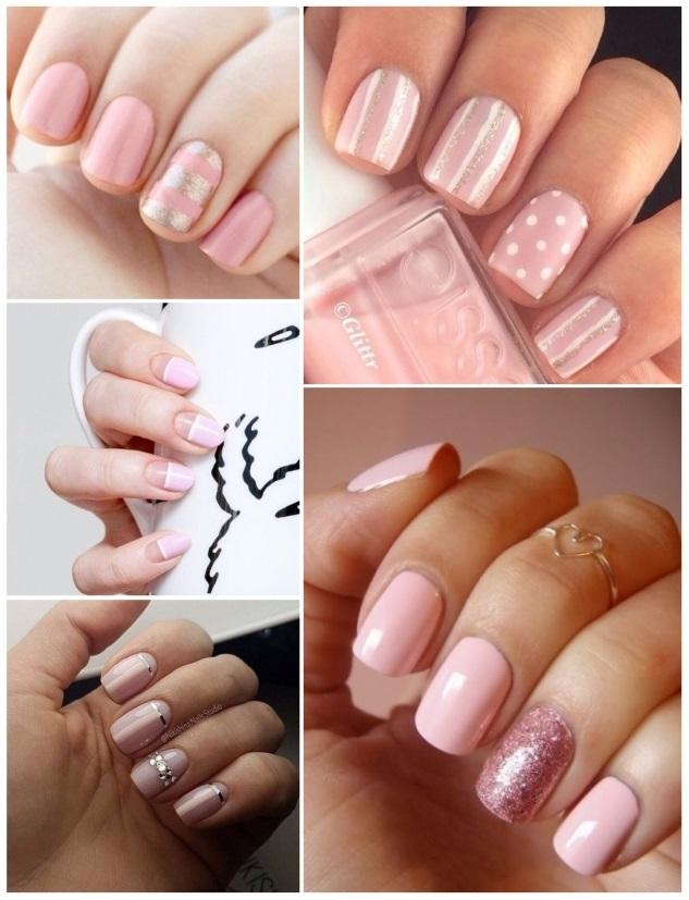 decoracion de uñas en color rosa