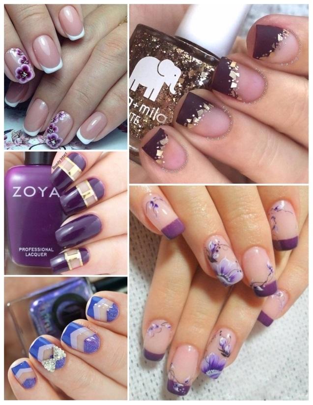 fotos de decoración de uñas moradas