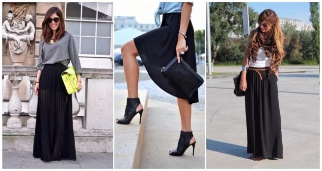 como combinar una falda negra ajustada