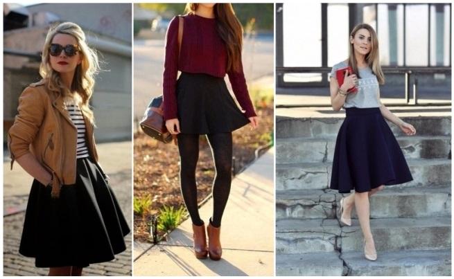 como combinar una falda negra con una blusa